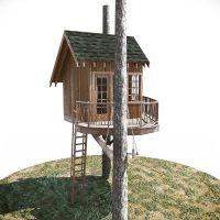新型丛林树屋设计定制、原木加工特色儿童攀爬树屋