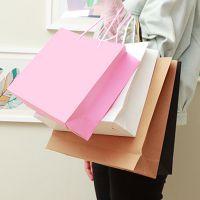 牛皮纸手提纸袋定做直销方形购物包装纸袋通用礼品喜糖盒可印logo