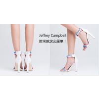 美国时尚流行女鞋JeffreyCampbell 白色新款时尚星星装饰一字带粗跟高跟凉鞋