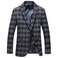 忆惜格罗 2017秋季新款西装男士韩版标准西服男青年格子外套潮流男装