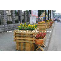 供应襄阳花园实木景观花车 木质景观花架 实木组合花箱