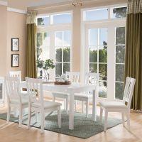 餐桌椅组合 现代简约小户型6人家用吃饭桌长方形 家庭餐厅桌椅