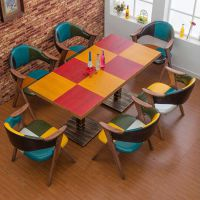 众美德餐桌椅生产厂家|餐厅餐桌|美式乡村风格铁艺实木桌子|质量超好