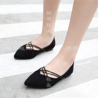 厂家直销一件代发 交叉带女鞋 休闲尖头女鞋 平跟