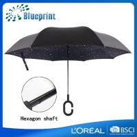 广东省华煜雨伞生产厂家创意C型三代kazbrella反向伞190T碰击布