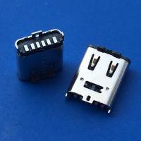 TYPE-C 6PIN立贴母座/直立式SMT/带弹片/充电专用/贴板式/立式贴片