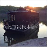 厂家定制 餐饮画舫船 水上吃饭平台木船 单亭小画舫餐饮船