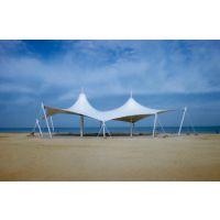 海边沙滩膜结构小品PVDF度假区景观张拉膜单位公司出入口膜结构
