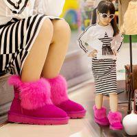 冬季儿童雪地靴皮毛一体女童靴子男童短靴女防滑防水童靴雪地棉男
