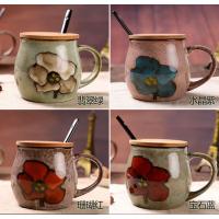 无锡礼品水杯定制 布丁瓷艺 创意早餐杯牛奶杯带盖带勺 复古马克杯水杯陶瓷咖啡杯子