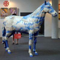 彩绘动物玻璃钢雕塑|户外园林动物摆件