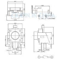 SOFNG TS-1103V 外形尺寸:12.0mm*12.0mm*4.3-xmm