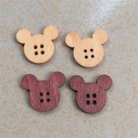 小熊头木纽扣卡通扣子服装辅料