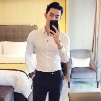 忆惜格罗 秋季新款长袖衬衫 男式时尚商务修身纯色打底烫印衬衣男装批发