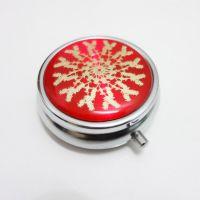 直销医药行业专用金属cd纹50mm药盒 便携药丸盒 可定制