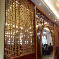 仿古木纹铝窗花屏风厂家 定制木纹铝合金窗花系列 10厘厚雕刻铝屏风