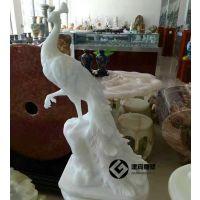 汉白玉孔雀雕塑摆件 家居石雕孔雀工艺品