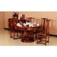北京红木家具餐厅1.38米圆台9件套价格刺猬紫檀