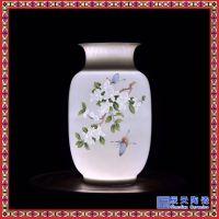 景德镇手工陶瓷花瓶 半刀泥玲珑彩花瓶 中式客厅家居装饰摆件