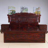 941红木网古典中式红木家具_卧室家具财源滚滚大床阔叶黄檀三件套