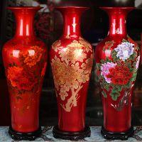 客厅装饰花瓶批发 牡丹红色落地大花瓶图片 景德镇陶瓷大花瓶厂