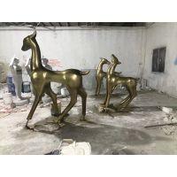 名图厂家专业商业街玻璃钢鹿造型抽象鹿雕塑