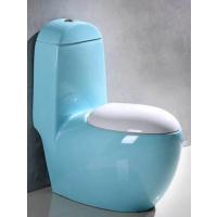 家用出口一体式陶瓷天蓝色创意马桶座便器