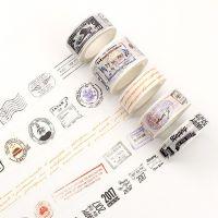 厂家定制和纸胶带报纸复古英文明信片邮戳纪念票票据拼贴边框手帐