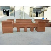 厂家定做户外PVC市政工程园林景观项目花箱护栏 广场花盆花槽公园木质花箱