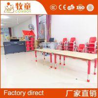 厂家直销幼儿园桌椅 儿童塑料桌椅幼儿园长方形课桌椅定制