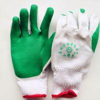供应真诚小帮手绿胶片手套 耐磨耐油防滑线胶手套