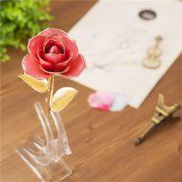 精美畅销金叶子镀金玫瑰 天然材质玫瑰花工艺品黛雅厂家批发