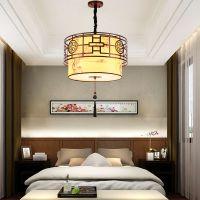 新中式吊灯现代圆形布艺餐厅客厅灯仿古卧室书房中国风灯具