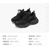 Jeffrey Campbell2018新款时尚女鞋 黑色厚底系带休闲鞋ins潮流风老爹