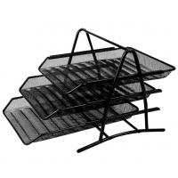 得力9181网状三层文件座 资料篮收纳架 金属材料商务办公 文件架