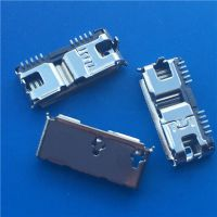 USB3.0 MICRO 8P B型母座 两脚插板 DIP+SMT 卷边 黑胶芯