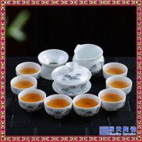 白玉瓷茶具12件套装 圆形工夫茶海盖碗 功夫茶具 新年礼品