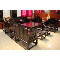 犀牛角红木丝翎檀雕十三件套沙发组合客厅紫光檀家具无拼补无白边红木家具