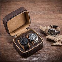 超纤维皮革鸵鸟纹手表盒便携拉链式皮制手表收纳盒 watch box