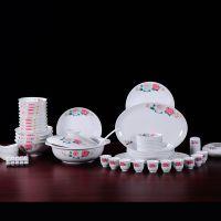 港鹏陶瓷餐具 陶瓷中式55头釉下手绘毛瓷月季花餐具 家用碗碟套装
