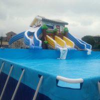 大型室外充气水滑梯户外游乐设备水上乐园充气水池儿童水滑梯游泳池