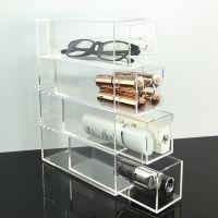 厂家定制眼镜抽屉式收纳盒 化妆品腮红口红眉笔桌面亚克力展示架