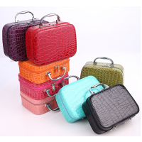 定制韩版PU格纹化妆包 女士手提带镜大容量时尚赠品箱 简易旅行收纳盒