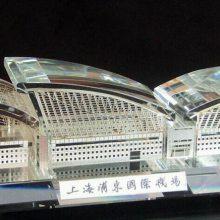 上海浦东机场建筑模型摆件 机场项目开工仪式 水晶内雕工艺品定制厂家
