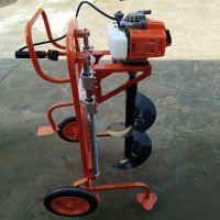 小型汽油挖坑机供应 型号齐全汽油便携式打坑机 启航大马力双人手扶挖坑机