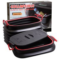 邦宁37L伸缩置物箱 折叠伸缩桶 钓鱼水桶 黑色带盖 英文彩盒装