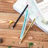 金属色笔杆按动中性笔 学生创意中性笔 双钢珠笔头水笔 文具批发