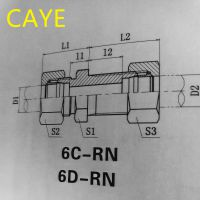 304不锈钢卡套直通过板接头6C/6D 公制外螺纹24度锥密封