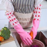 加绒洗衣乳胶厂家直销 长款束口家务手套 手套批发清洁洗碗手套