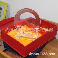 免打磨水晶白胚  水晶盘 礼品盒包装含豪华水晶底座
